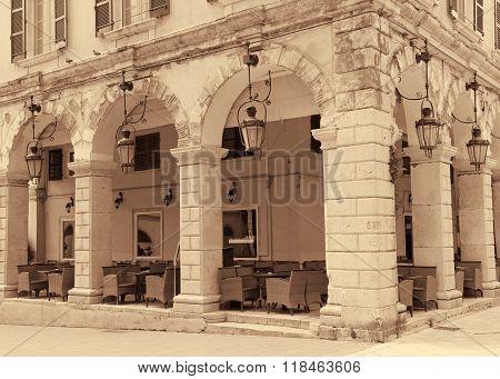 Greece. Corfu. Corfu Town. An Open-air Cafe. Sepia