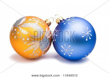 New Year Christmas blue and orange toys