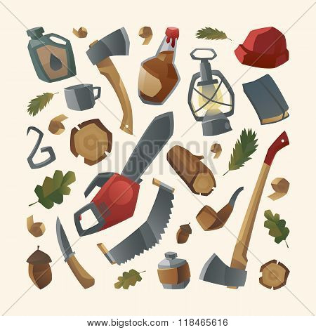 Collection of lumberjack things and work tools