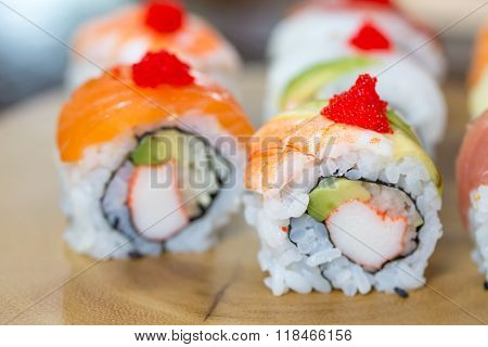 Sushi Set, Sushi Roll With Salmon And Sushi Roll With Avocado.