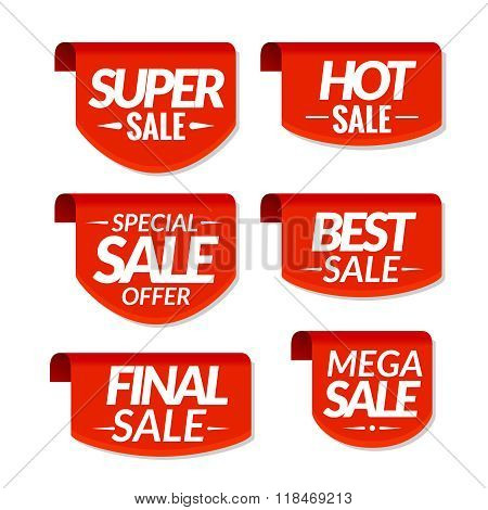 Sale tags labels. Special offer, hot sale, special sale, final sale, best sale, mega sale discount b