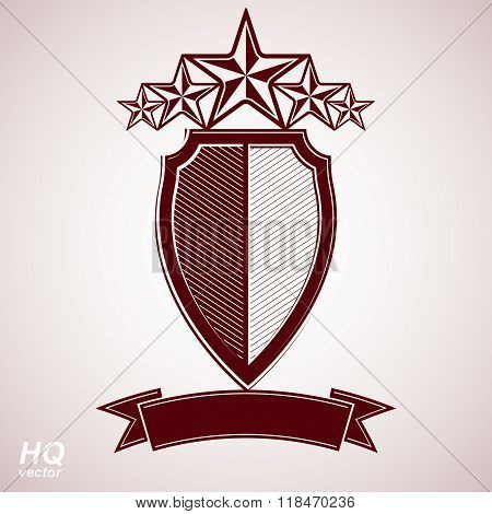 Vector aristocratic symbol. Festive graphic shield with five stars and curvy ribbon, decorative luxury security template. Corporate branding icon success concept theme design element.