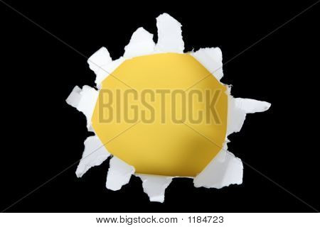 Black And Yellow Torn Out Hole