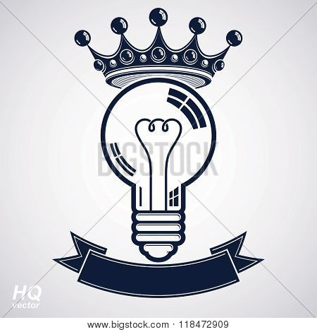 Electricity light bulb symbol with crown insight emblem. Vector royal conceptual icon. Best idea award icon with curvy ribbon. Brilliant idea graphic web design element. poster