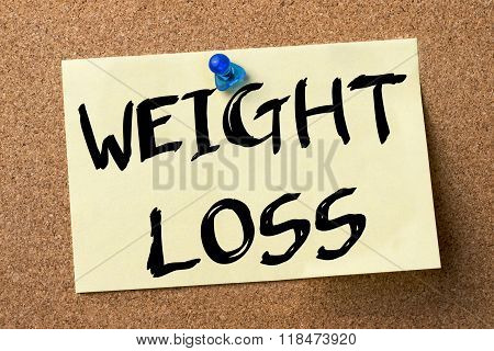 Weight Loss - Adhesive Label Pinned On Bulletin Board