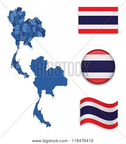 High Detailed Map of Thailand With Flag Collection