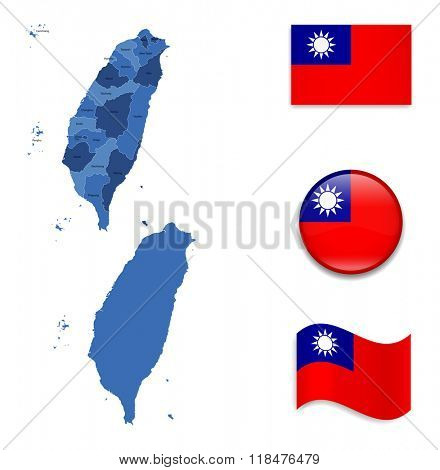 High Detailed Map of Taiwan With Flag Collection