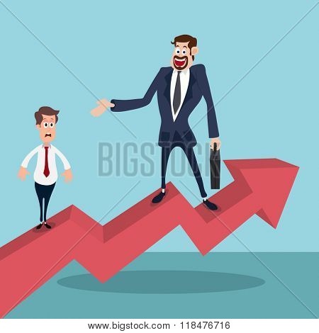 Illustration of young Businessman standing on 3D growth arrow with his defeated competitor.