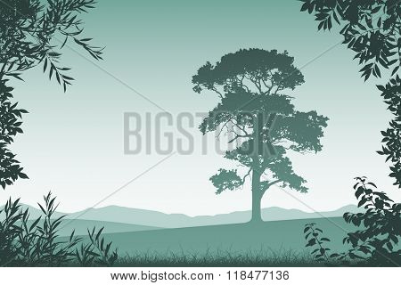 Landscape with Lone Tree  and Floral Border and Leaves
