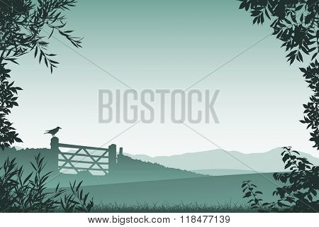 Landscape with Farm Gate and Floral Border and Leaves