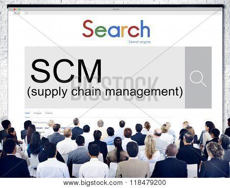 SCM Supply Chain Management Manufacture Procurement Concept
