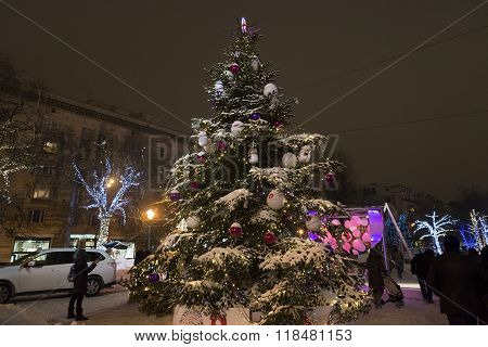 Moscow, Russia - January 17, 2015. Christmas Tree On Tverskoy Boulevard