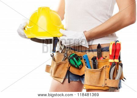 Woman Builder With Set Of Construction Tools, Isolated