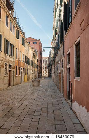 VENICE, ITALY - FEBRUARY 5 2016: Streets And Bridges Of Venice