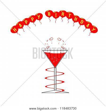 Wine Glass And Happy Birthday Balloons