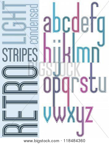 Poster Bright Retro Condensed Font, Striped Compact Light Lowercase Letters On White Background.