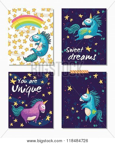 Set of Unicorn cards. Childish background with cartoon character.