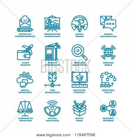 Business Line Icons. Modern elements of Research network, supply chain, virtual assistance, industrial policy, education strategy, time management, digital workforce, project engineering