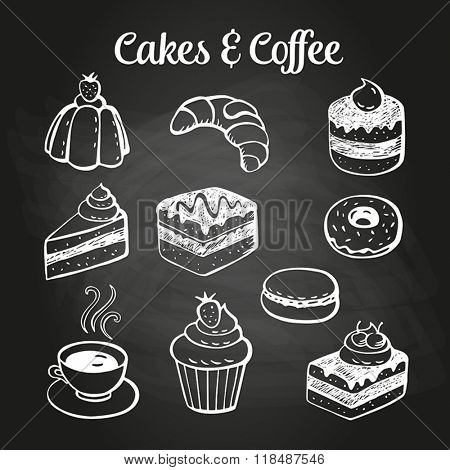 Coffee and desserts doodles on a chalkboard. Can be used as menu board for restaurant or bars.