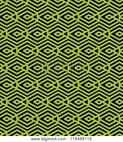 Green Abstract Seamless Pattern With Interweave Lines. Vector Ornament background