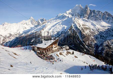 People Near Self Service Bar On Ski Resort