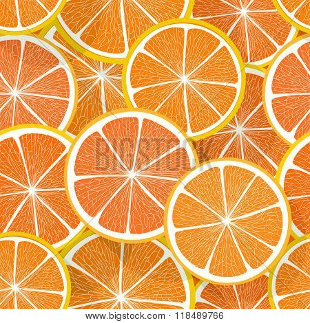 Citrus seamless vector pattern. Orange