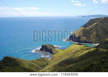 Cliff Ocean Coast At Cape Reinga New Zealand