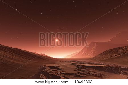 Sunset On Mars. Mars Mountains, View From The Valley