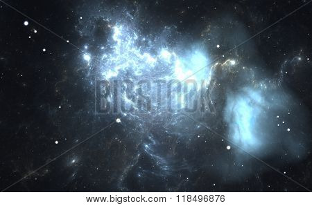 Blue Nebula. Cloud Of Gas And Dust Blocks The Light Of Distant Stars