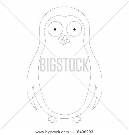 Vector abstract coloring cute pinguin on a white
