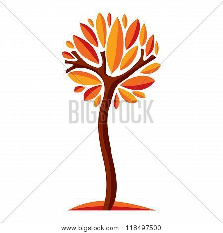 Art Fairy Illustration Of Tree, Stylized Eco Symbol. Insight Vector Image On Season Idea, Beautiful