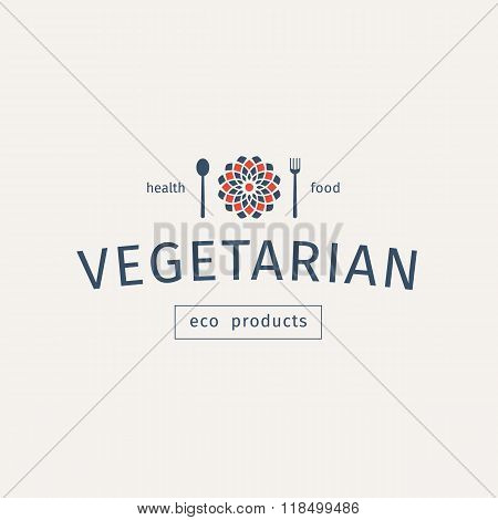 Vegetarian Food Vector Emblem