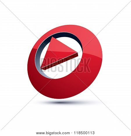 Three-dimensional Play Sign. 3D Vector Push Button, Multimedia Arrow Symbol Isolated