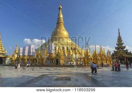 Yangon, Myanmar - December 29 : Unidentified People Walking Around  In Shwedagon Pagoda On December,