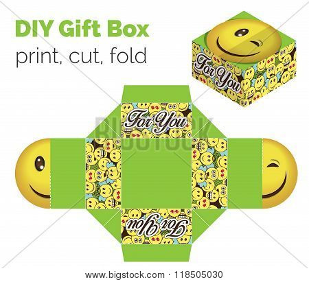 Lovely Do It Yourself Diy Wink Smiley Expression Gift Box For Sweets, Candies, Small Presents. Print