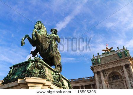 Hofburg, Statue Of Eugen Savoyen, Vienna, Austria.