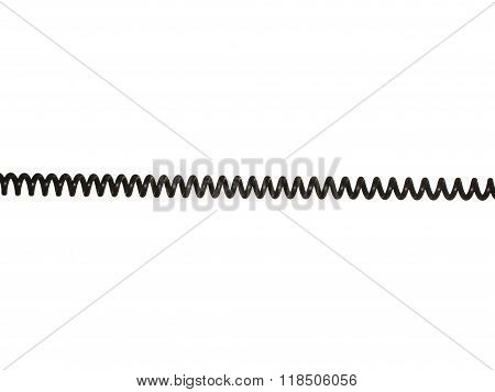 Black Coiled Electric Cable Isolated On White Background.