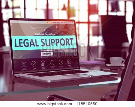 Laptop Screen with Legal Support Concept.