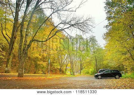 Parking In Autumnal Bezrucovo Udoli Valley In Czech Republic
