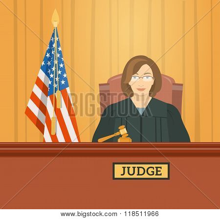 Judge In Courthouse Flat Illustration