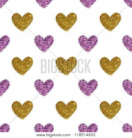 Background with hearts of purple and golden glitter, seamless pattern