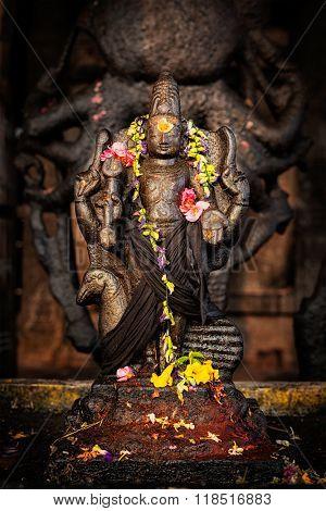 Murugan Hindu deity image. Brihadishwara Temple. Tanjore (Thanjavur), Tamil Nadu, India