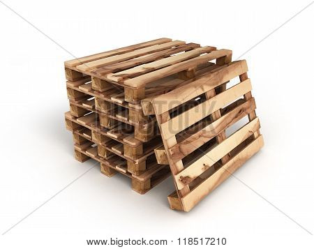 Stack Of Three Wooden Pallets One Pallet Near Isolated On White