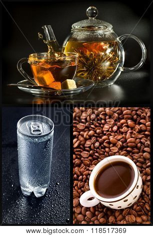 Collection set of tea, coffee, water drink on black background