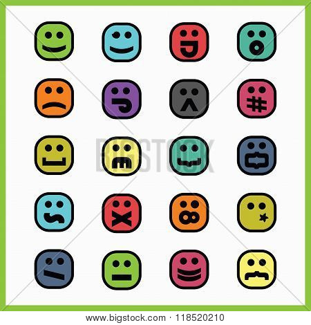 Thick black line colorful square emoticons and icons set with font type character faces on white bac