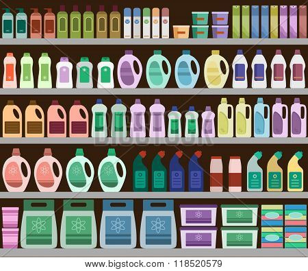 Shelves filled with cleaning products