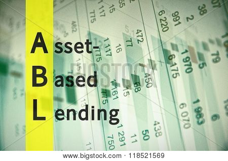 Acronym ABL as Asset-Based Lending. The financial data visible on the background. poster