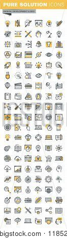 Set of modern vector thin line design and website development icons