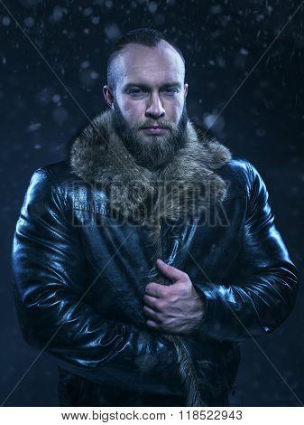 Beautiful Luxury Winter Man On Snow Background