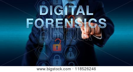 Investigator Pushing Digital Forensics.